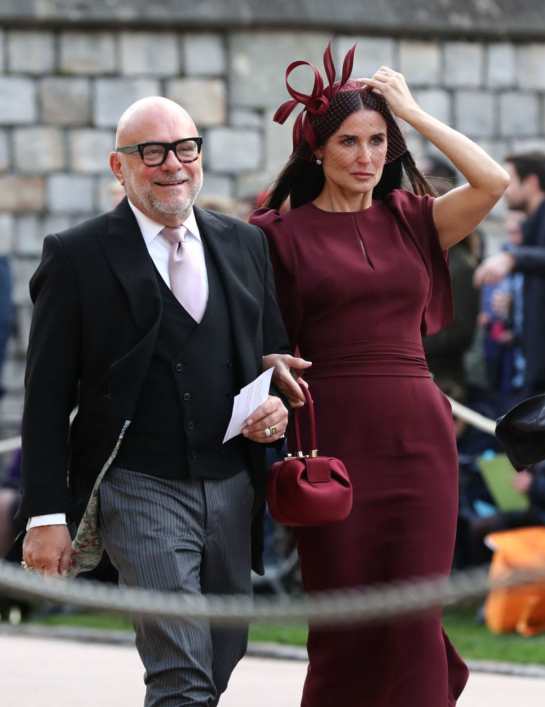 Eric Buterbaugh and Demi Moore arrive ahead of the wedding of Princess Eugenie of York to Jack Brooksbank at Windsor Castle on October 12, 2018, in Windsor, England. (Getty Images)