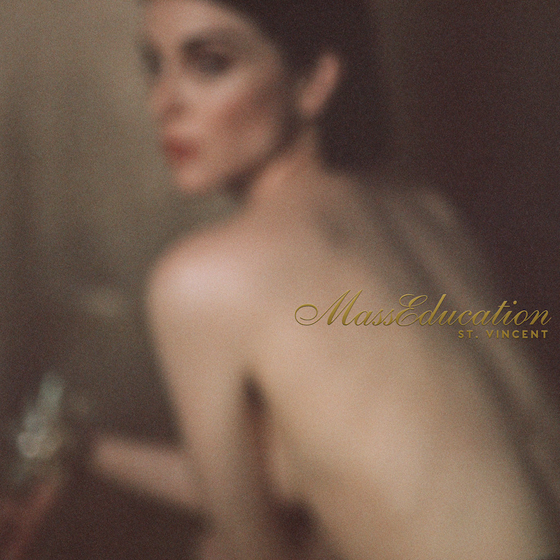 Album art for St. Vincent's upcoming album 'MassEducation', a stripped-back reworking of her 2017 album, 'MASSEDUCTION'.