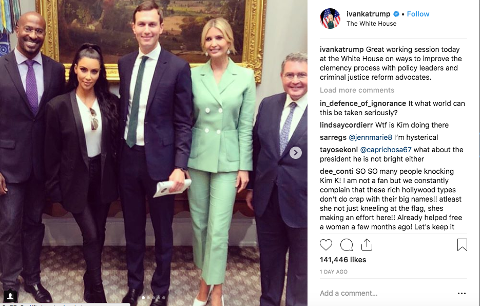 Ivanka Trump shared the picture of her meeting with Kim Kardashian West on her Instagram.
