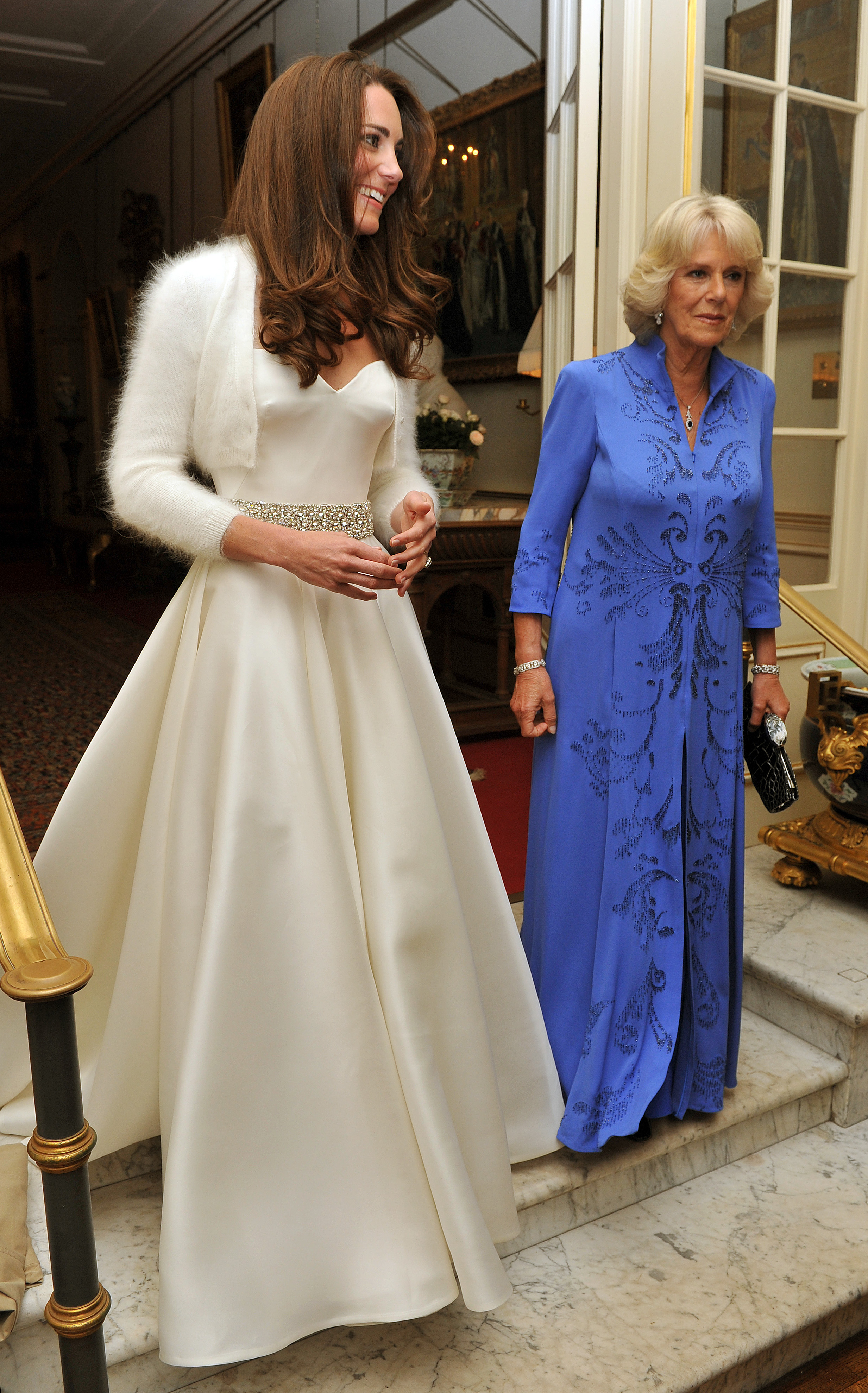 Catherine, Duchess of Cambridge (L) and Camilla, Duchess of Cornwall leave Clarence House to travel to Buckingham Palace for the evening celebrations following her wedding to Prince William, Duke of Cambridge on April 29, 2011, in London, England. (Getty Images)