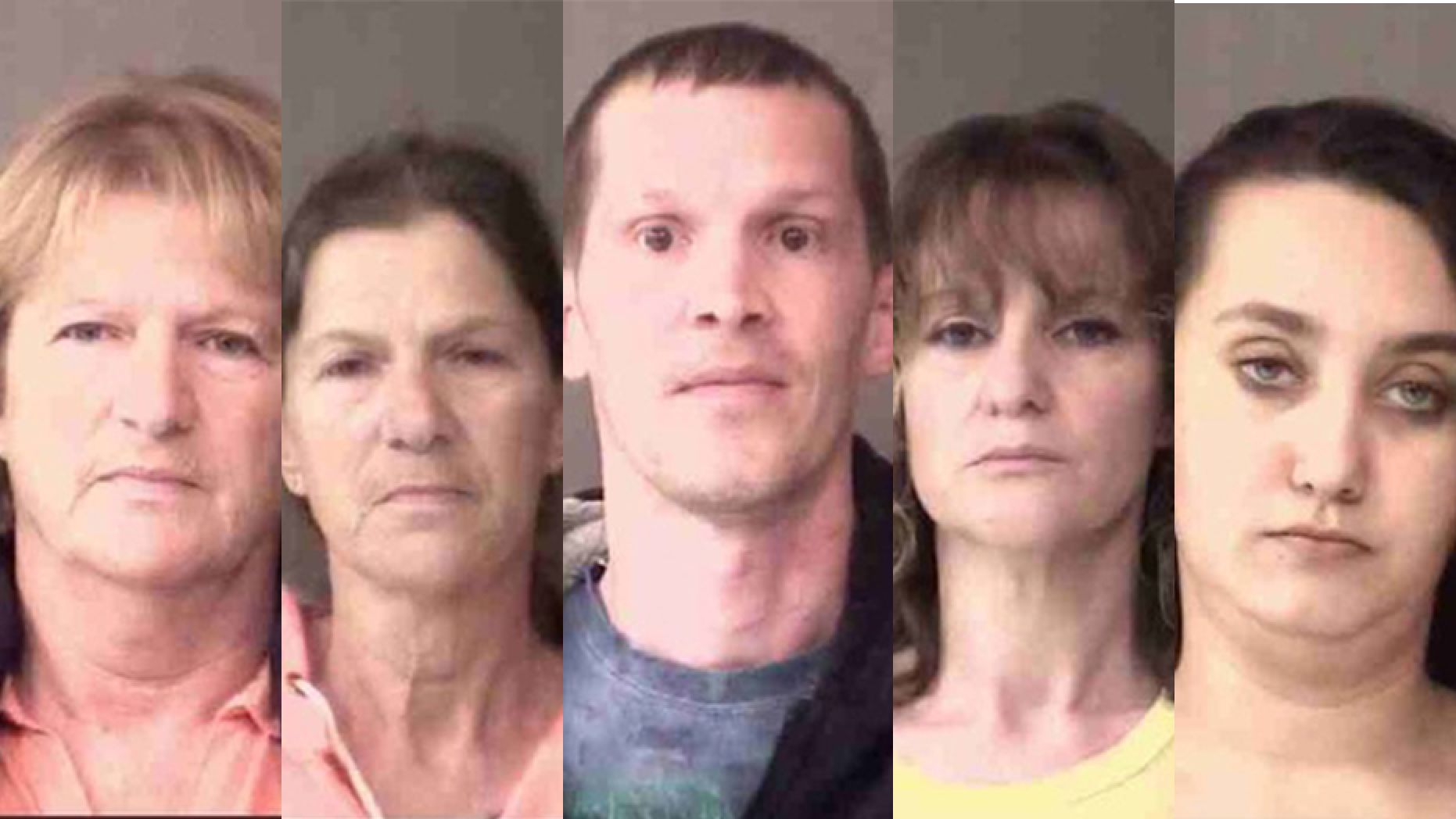 Police in Indiana charged (from left) Annette Priestly, Fayette Robinette, Travis Tillotson, Jammy Stacy, and Rune Springer with felony neglect of a dependent after a boy was found injured and severely malnourished. (Kosciusko County Jail)