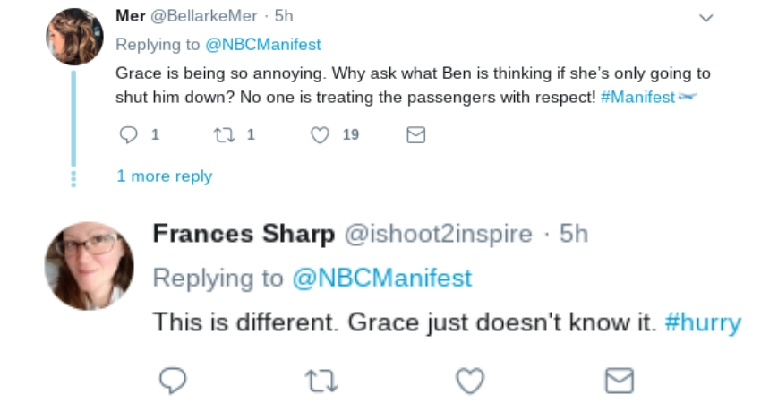 Some fans are trying to be supportive of Grace's disturbed state of mind. (Twitter)