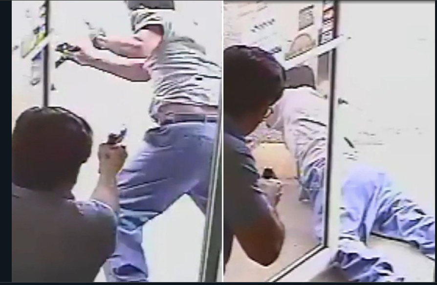 The politician can be seen shooting the alleged shoplifting suspect. (YouTube)