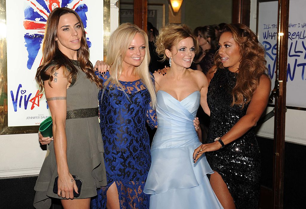Melanie Chisholm, Emma Bunton, Geri Halliwell, and Melanie Brown attend the press night of 'Viva Forever', a musical based on the music of The Spice Girls at Piccadilly Theatre on December 11, 2012, in London, England. (Photo by Stuart Wilson/Getty Images)