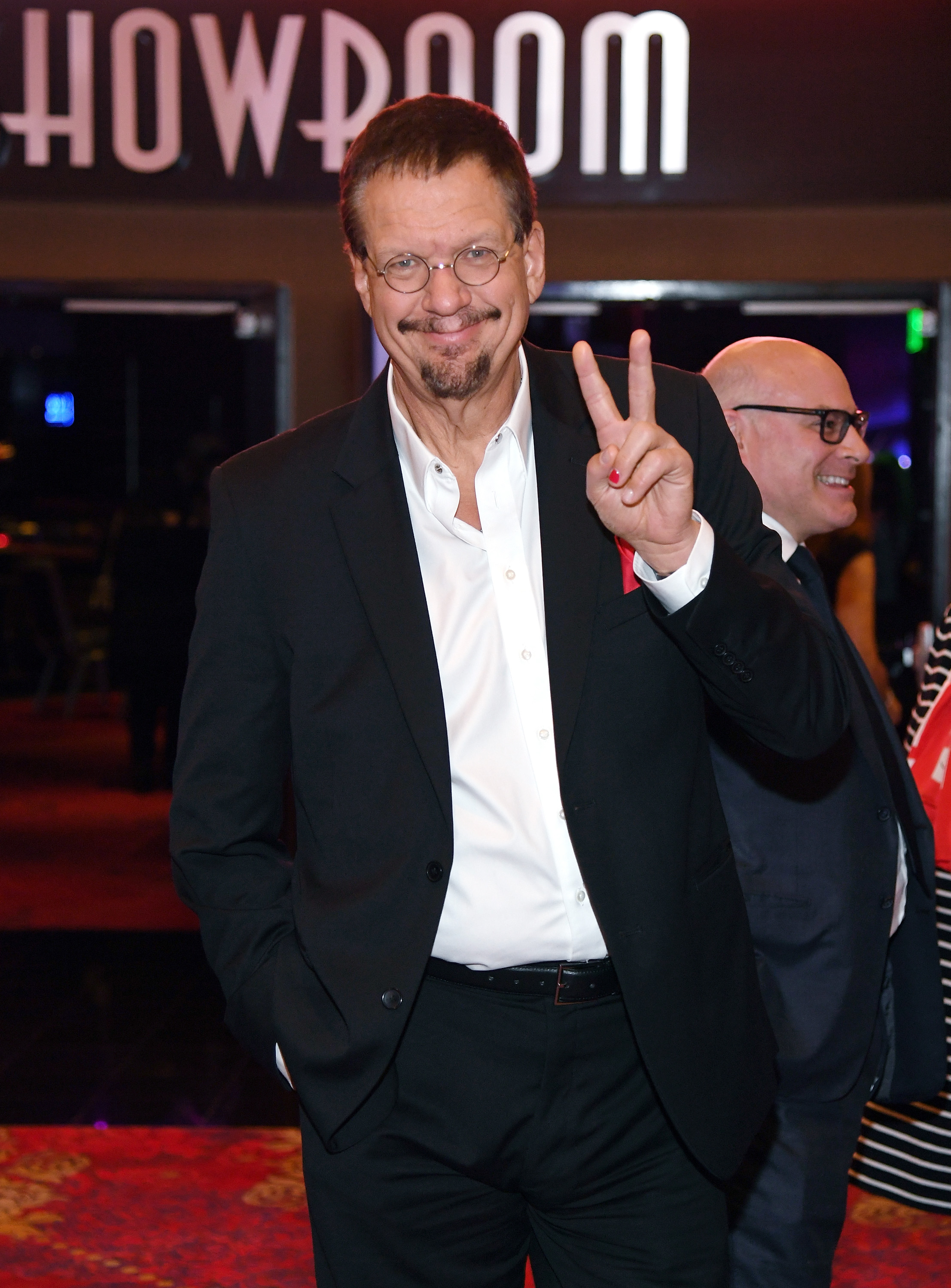 Penn Jillette of the comedy/magic team Penn & Teller arrives at a memorial for Jerry Lewis at the South Point Hotel & Casino on September 4, 2017 in Las Vegas, Nevada. Lewis died on August 20, 2017, at his home in Las Vegas at age 91.