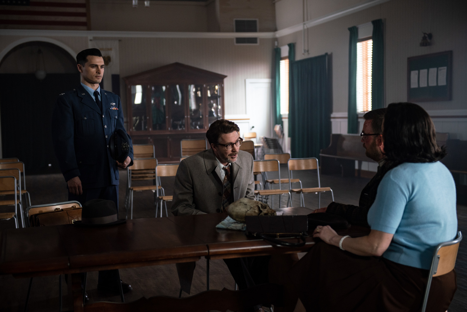 Michael Malarkey as Captain Michael Quinn and Aidan Gillen as Dr. J. Allen Hynek in HISTORY's 'Project Blue Book' (Source: A&E Networks)
