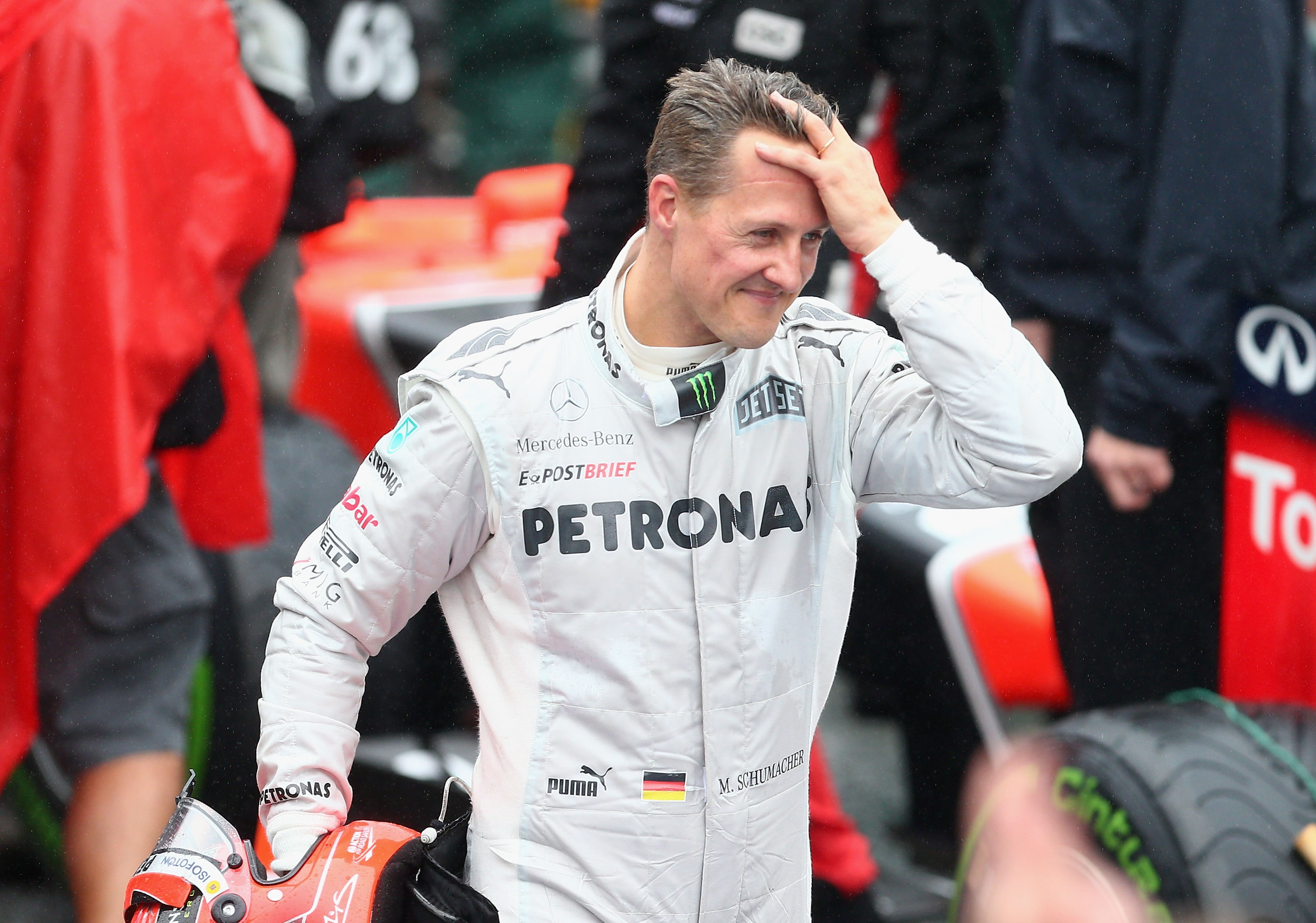 Michael Schumacher of Germany and Mercedes GP reacts in parc ferme after finishing his last F1 race following the Brazilian Formula One Grand Prix at the Autodromo Jose Carlos Pace on November 25, 2012, in Sao Paulo, Brazil (Source: Clive Mason/Getty Images)