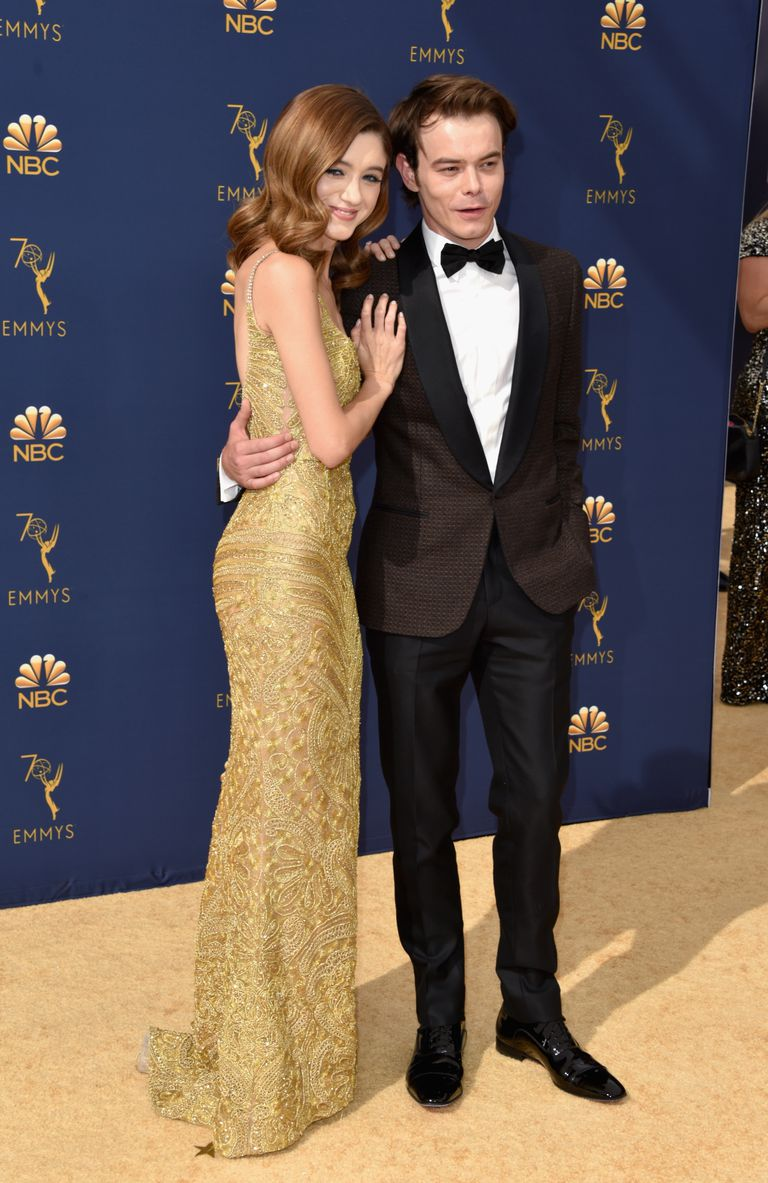 Natalia Dyer & Charlie Heaton at the Emmys red carpet