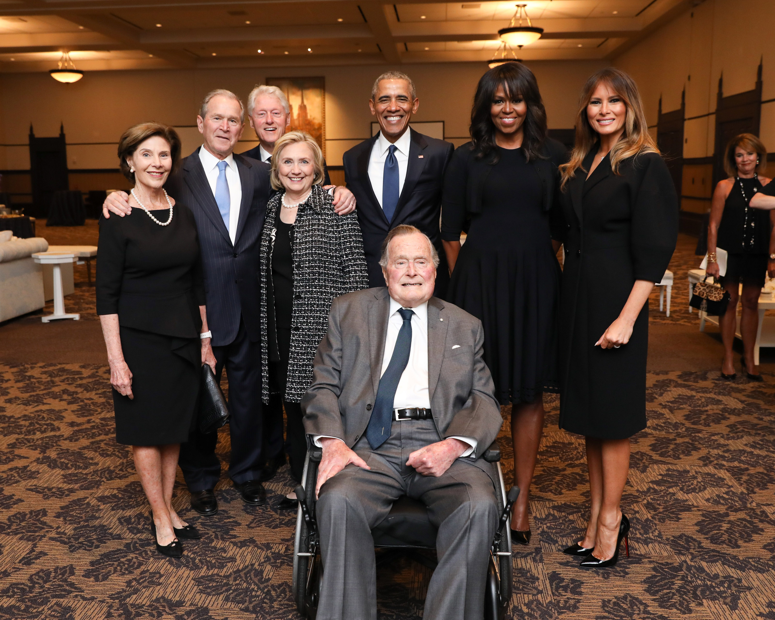 In this handout provided by Paul Morse/George W. Bush Presidential Center, (L-R) Former first lady Laura Bush, former President George W. Bush, former President Bill Clinton, former Secretary of State and first lady Hilary Clinton, former President Barack Obama, former President George H. W. Bush, former first lady Michelle Obama and current first lady Melania Trump pose for a group photo at the funeral ceremony for the late first lady Barbara Bush.