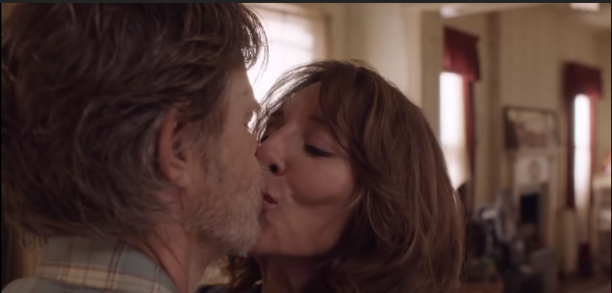 Katey Segal (R) as Ingrid, kissing William H. Macy's character Frank, in a scene from Shameless season 9. Source: Youtube screenshot.