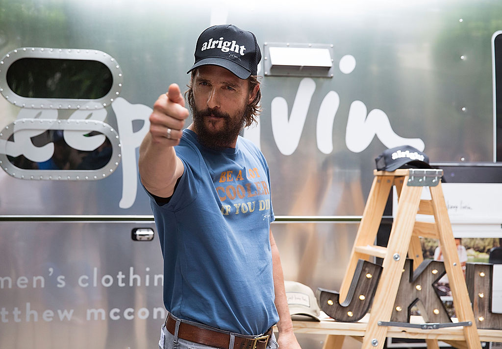 Matthew McConaughey attends his 'just keep livin' pop-up shop on April 17, 2015 in Austin, Texas. (Photo by Rick Kern/Getty Images for just keep livin)