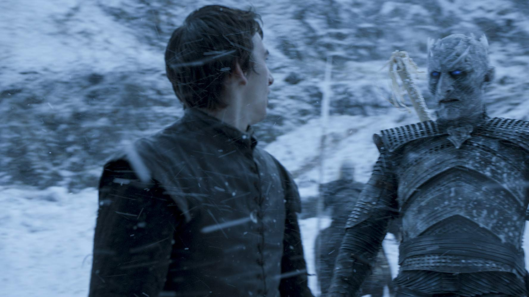 Isaac Hempstead Wright (Bran Stark) and Vladimir 'Furdo' Furdik (Night King) in Game of Thrones (2011). (Source: IMDB)