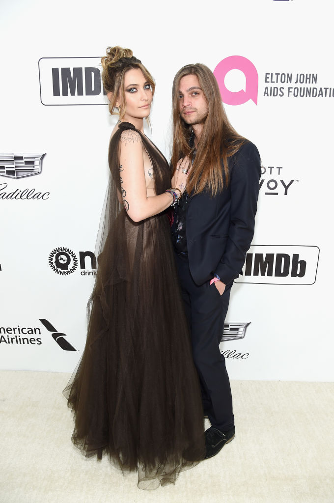 Paris Jackson and guest attend the 27th annual Elton John AIDS Foundation Academy Awards Viewing Party sponsored by IMDb and Neuro Drinks celebrating EJAF and the 91st Academy Awards on February 24, 2019 in West Hollywood, California. (Photo by Jamie McCarthy/Getty Images for EJAF)