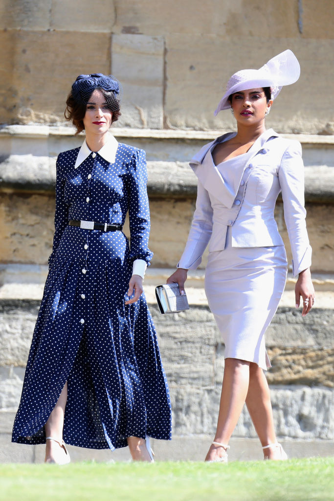 Abigail Spencer (L) and Priyanka Chopra attend the wedding of Prince Harry to Ms Meghan Markle at St George's Chapel, Windsor Castle on May 19, 2018 in Windsor, England. (Photo by Chris Jackson/Getty Images)