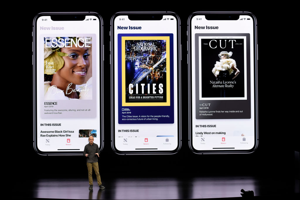 Roger Rosner, vice president of applications at Apple Inc., speaks during a company product launch event at the Steve Jobs Theater at Apple Park on March 25, 2019 in Cupertino, California (Photo by Michael Short/Getty Images)
