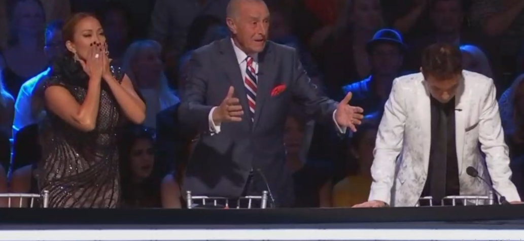 DWTS judges, Carrie Ann Inaba (L), Len Goodman (M, and Bruno Tonioli (R) reacting to Juan Pablo Di Pace's elimination. Source: Twitter