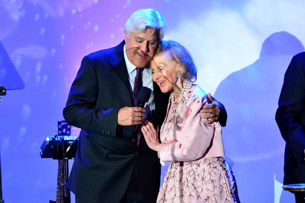 Jay Leno and Barbara Davis on stage at the 2018 Carousel Of Hope Ball at The Beverly Hilton Hotel on October 6, 2018 in Beverly Hills, California. (Photo by Jerod Harris/Getty Images,)