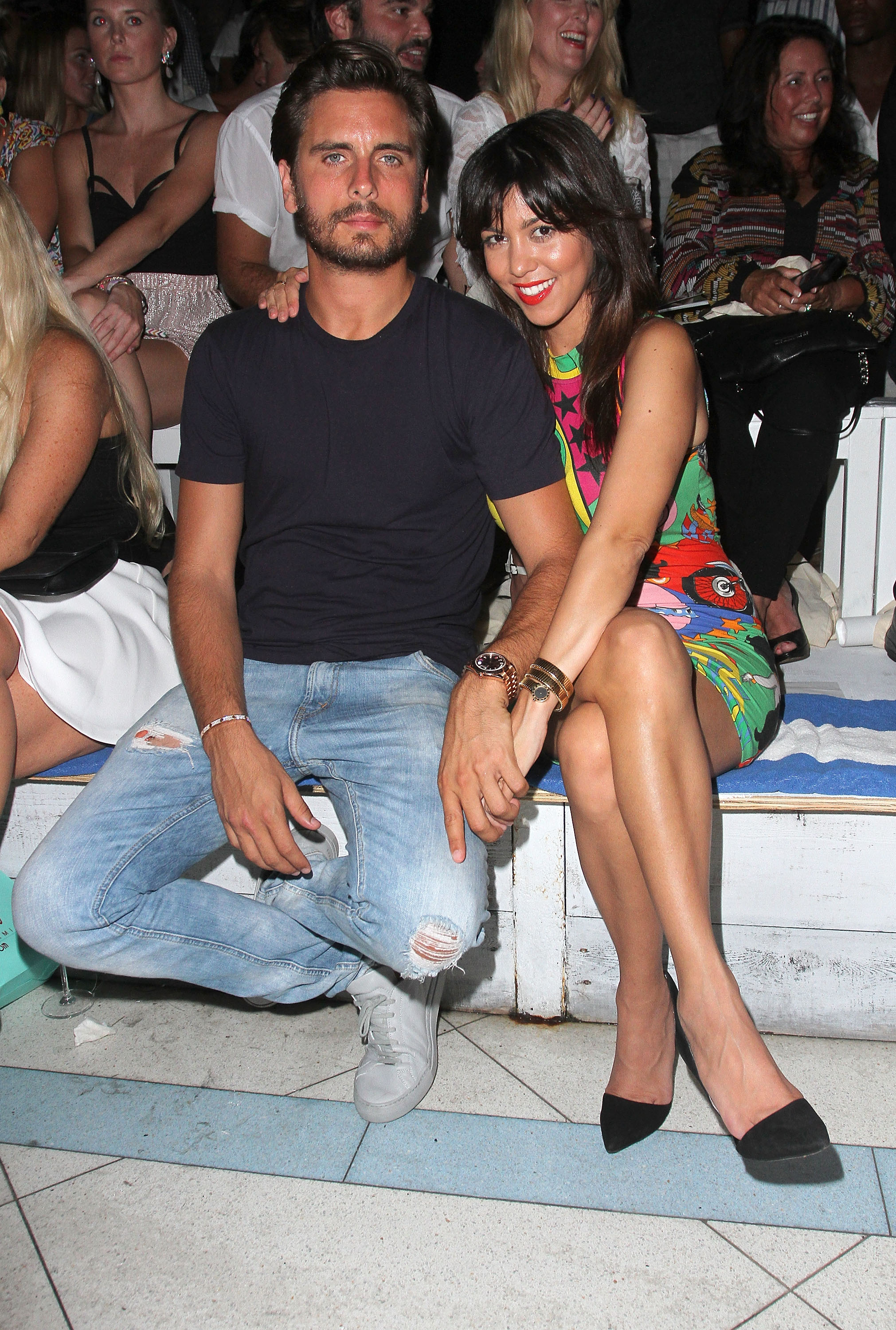 TV personalities Scott Disick and Kourtney Kardashian attend the Wildfox Swim Cruise 2014 show at Soho Beach House on July 21, 2013, in Miami Beach, Florida. (Getty Images)