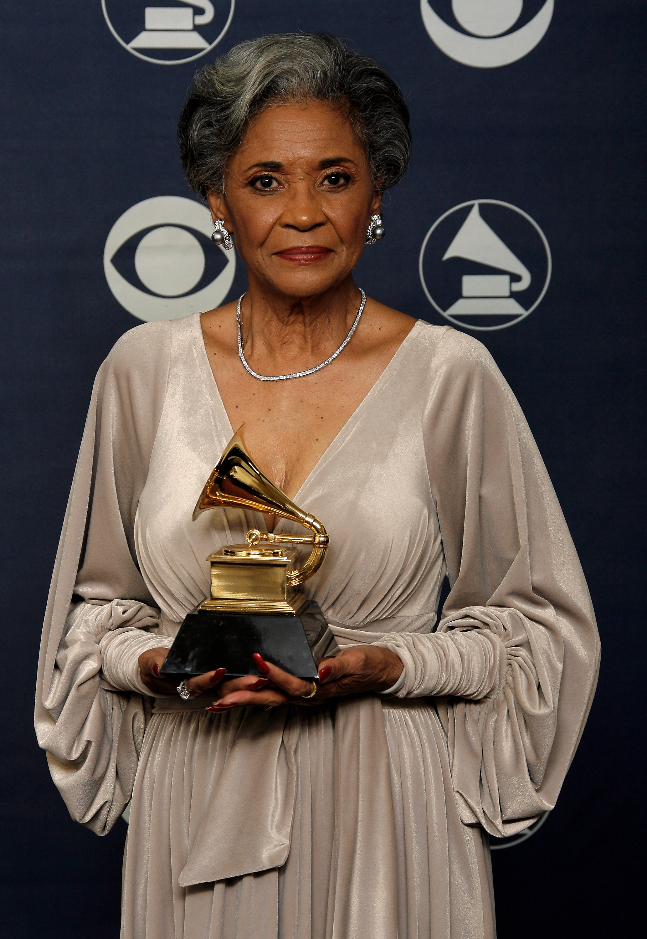 Singer Nancy Wilson poses with her Grammy for Best Jazz Vocal Album for 'Turned To Blue' in the press room at the 49th Annual Grammy Awards at the Staples Center on February 11, 2007 in Los Angeles, California.