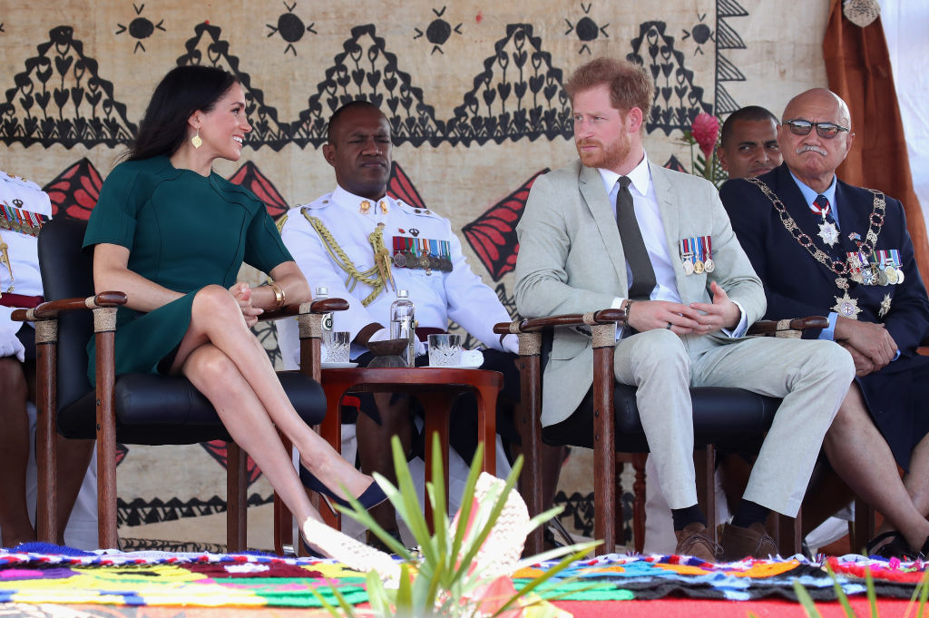 Meghan Markle and Prince Harry attend the unveiling of the Labalaba Statue on October 25, 2018, in Nadi, Fiji (Source: Getty Images)