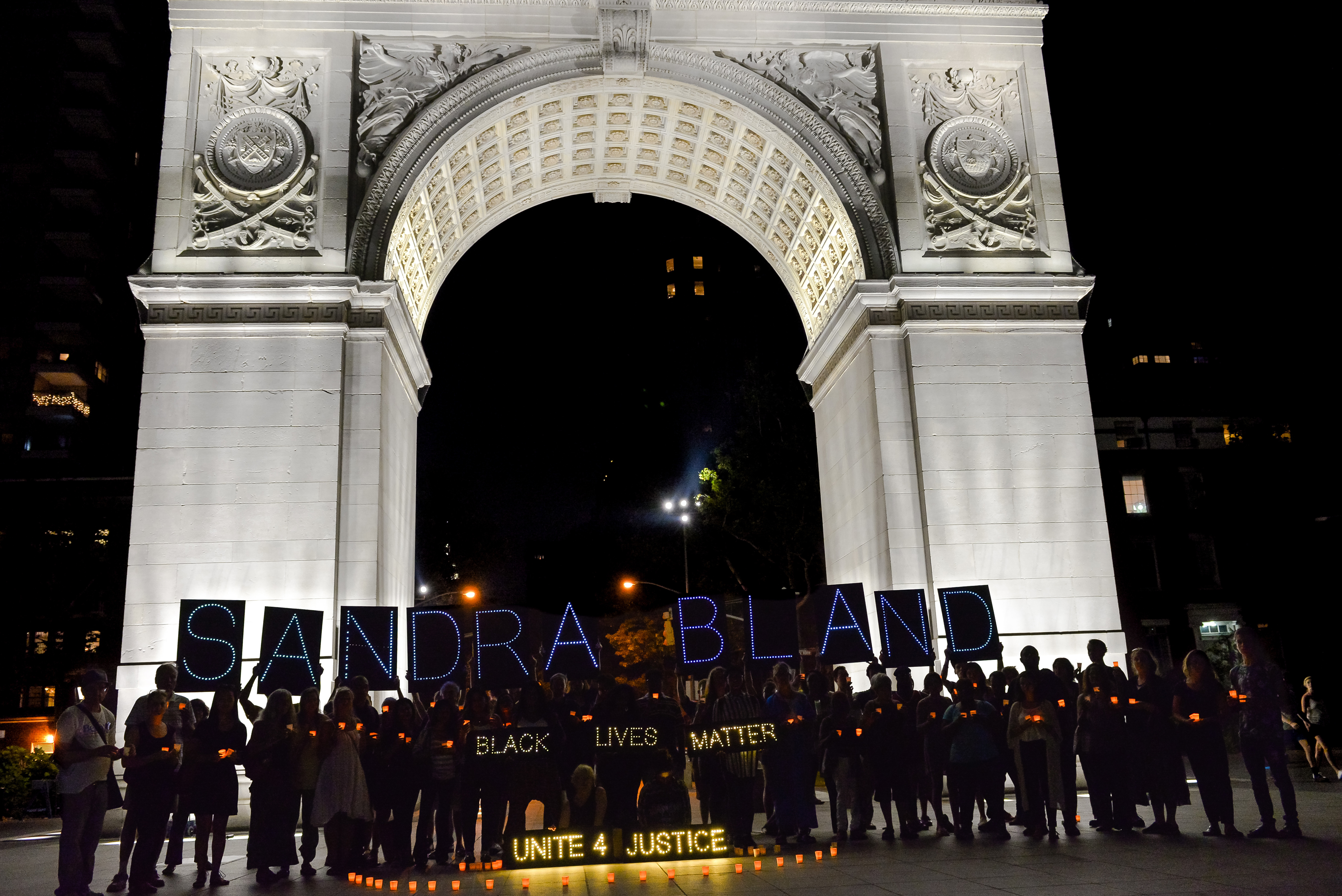 Protestors demonstrate outside Washington Square Park, New York (Source: HBO)