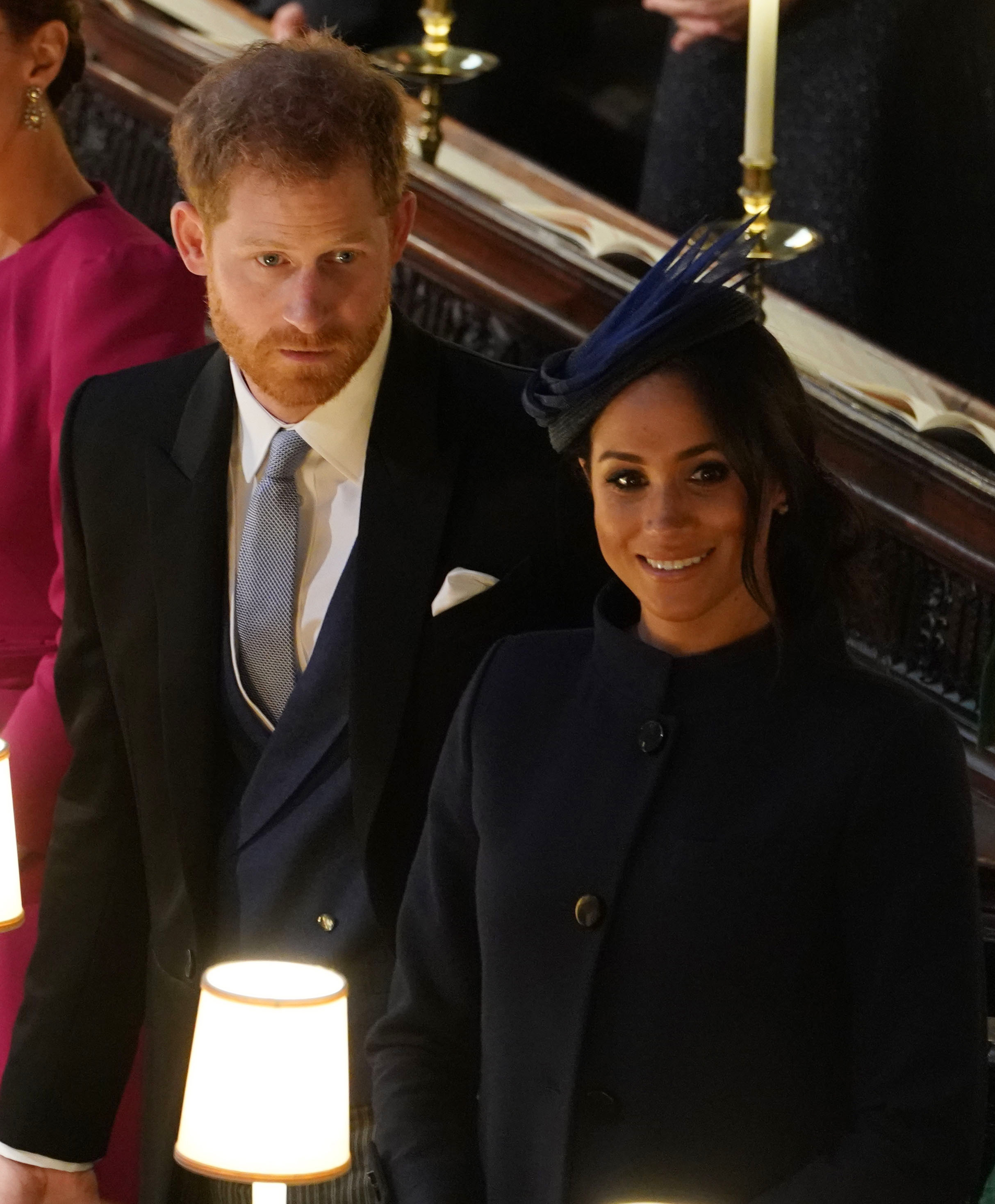 Prince Harry and Meghan Markle at the wedding of Princess Eugenie at St. George's Chapel on October 12 (Getty Images)
