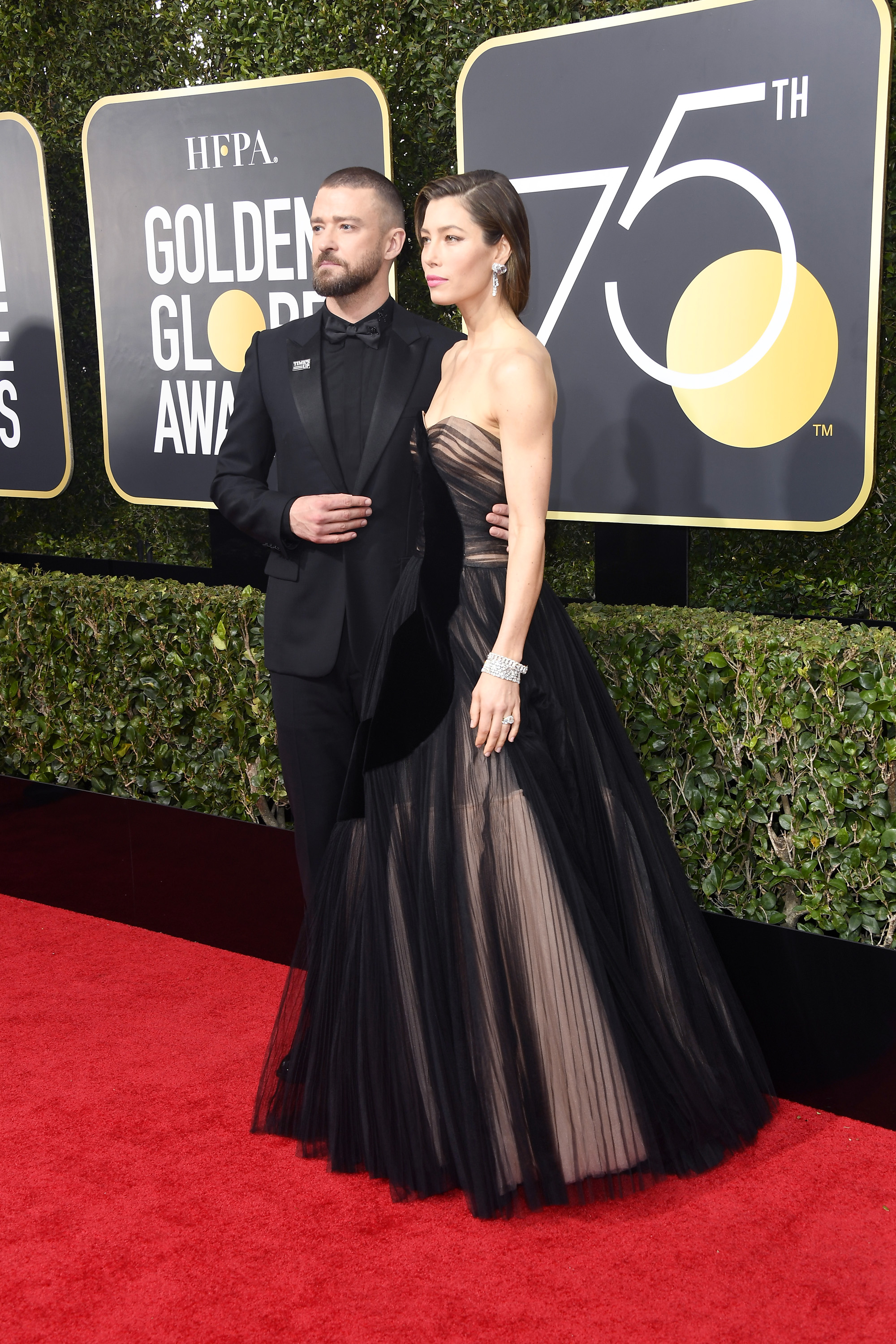 Justin Timberlake and Jessica Biel attend The 75th Annual Golden Globe Awards at The Beverly Hilton Hotel on January 7, 2018 in Beverly Hills, California.