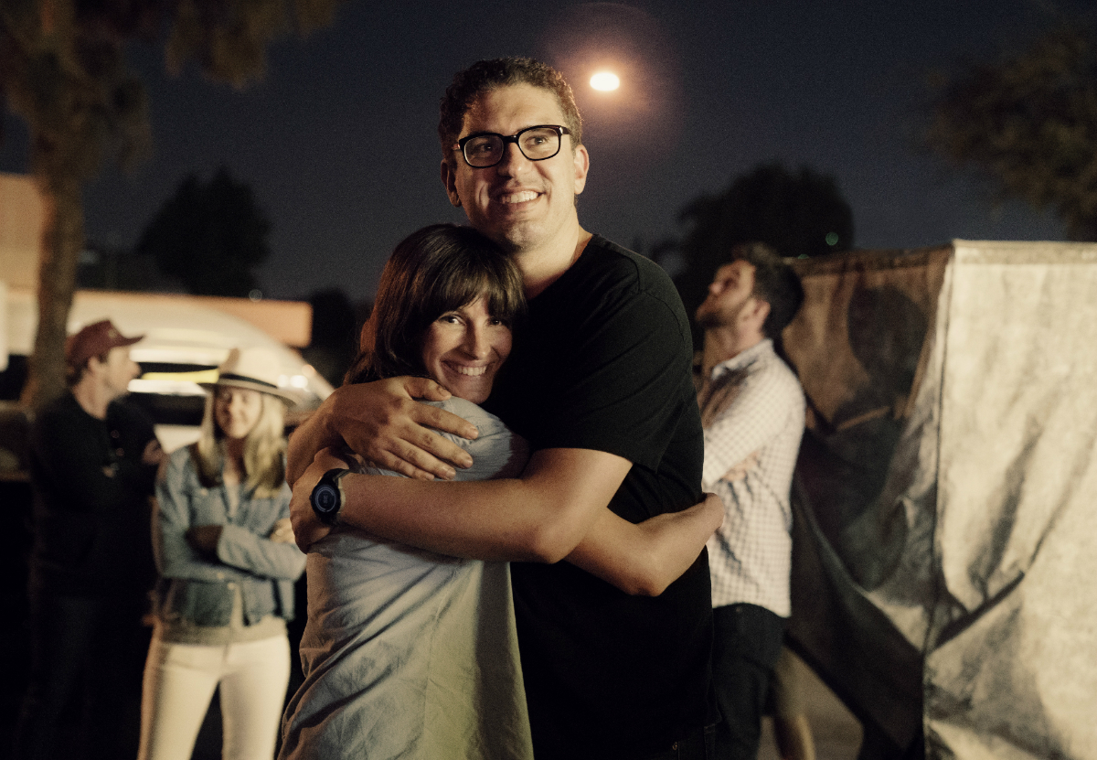 Julia Roberts and 'Homecoming' creator Sam Esmail behind the scenes (Hilary B Gayle/SMPSP)