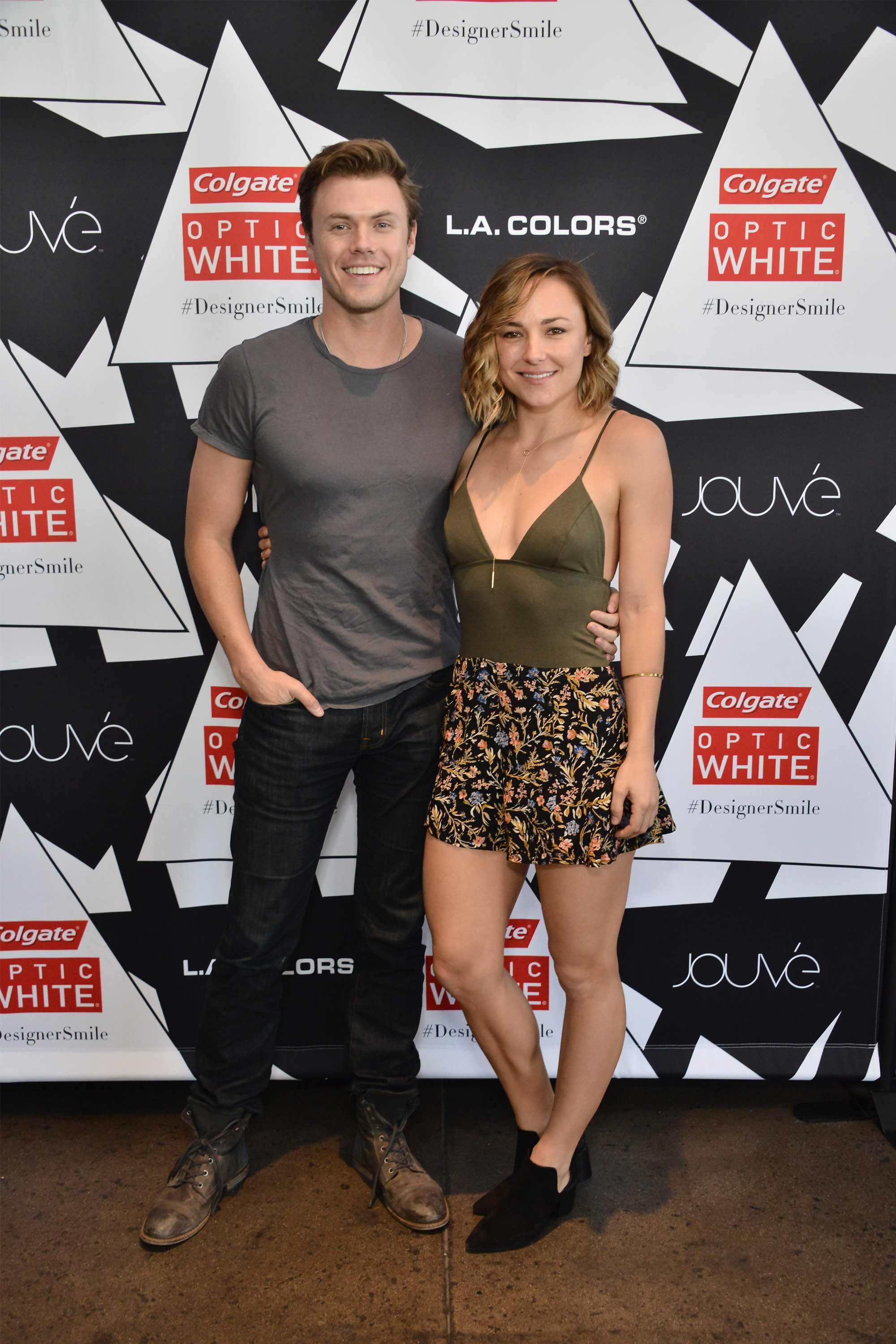 Blake Cooper Griffin and Briana Evigan attend the Colgate Optic White Beauty Bar Ð Day 1 at Hudson Loft on February 13, 2016, in Los Angeles, California.