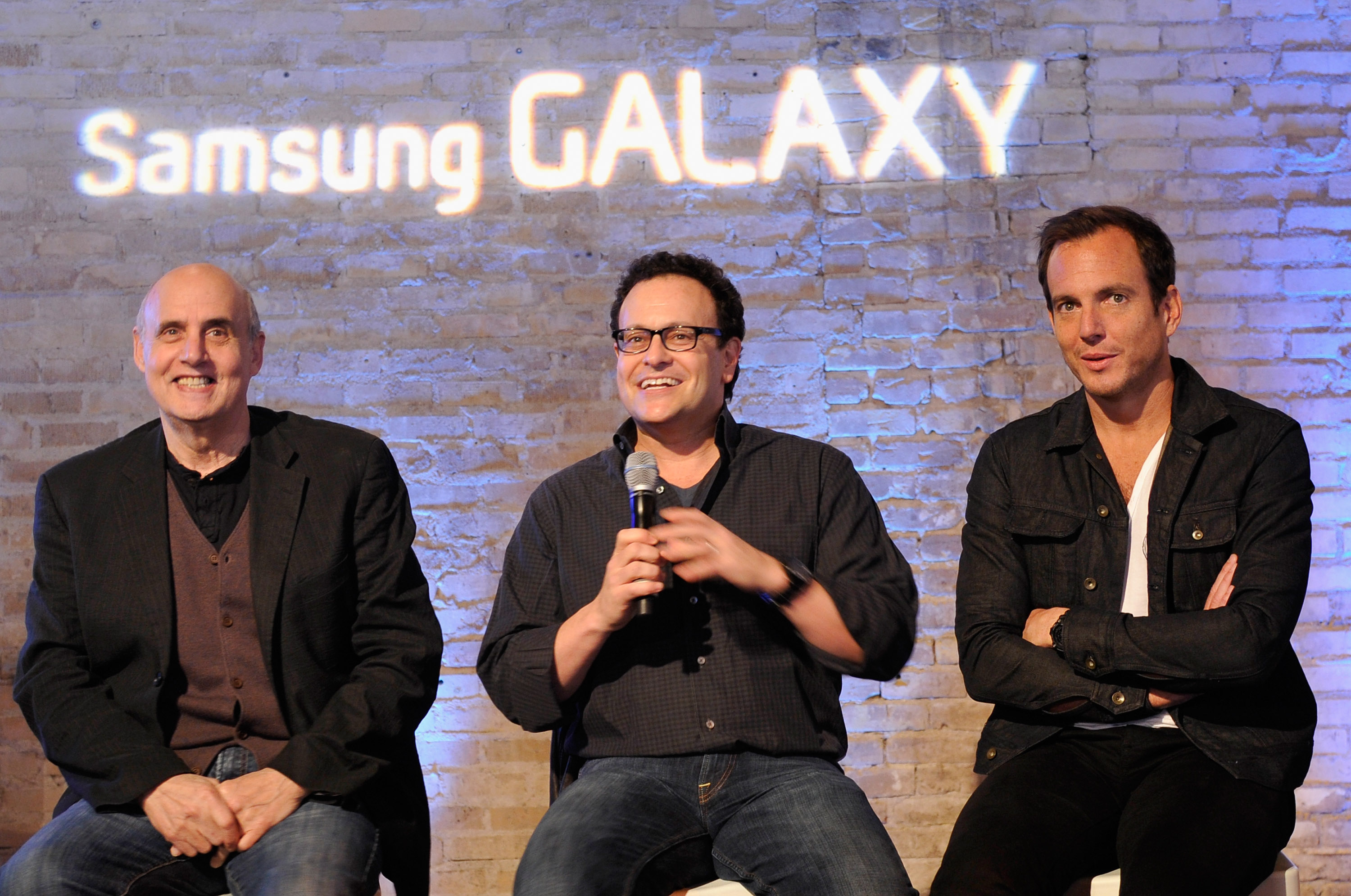 (L-R) Actor Jeffrey Tambor, creator Mitch Hurwitz and actor Will Arnett speak onstage as The Samsung Galaxy Experience hosts a Q&A with Mitch Hurwitz, Will Arnett and Jeffrey Tambor at SXSW on March 10, 2013 in Austin, Texas. (Getty Images)