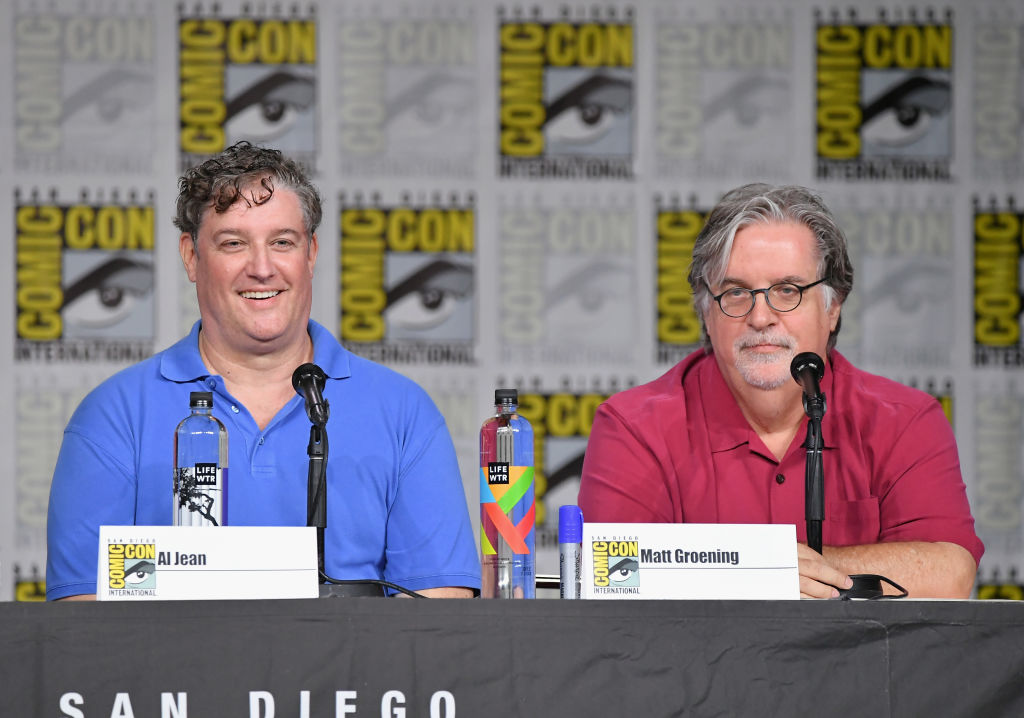 Al Jean and Matt Groening speak onstage at 'The Simpsons' Panel during Comic-Con International 2018 at San Diego Convention Center on July 21, 2018, in San Diego, California (Source: Mike Coppola/Getty Images)