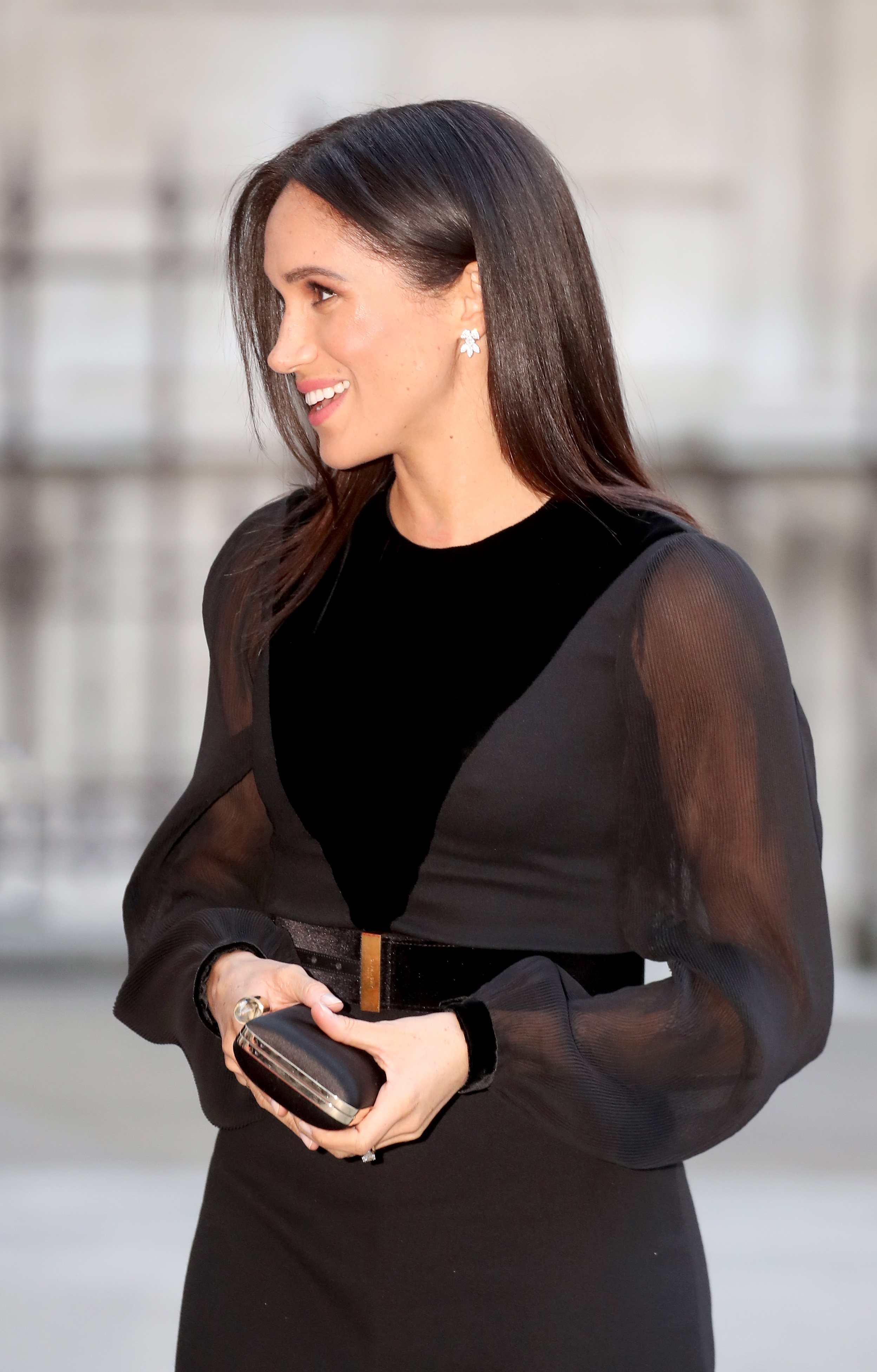 While her appearance was breathtaking, Meghan unknowingly bared a hint of her nipples in all their perky glory (Getty Images)
