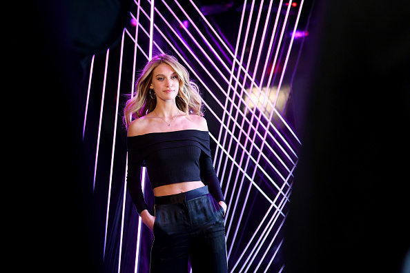 Star of E!'s Model Squad Caroline Lowe poses during New York Fashion Week: The Shows - Day 1 on February 8, 2018 in New York City. (Photo by Mike Coppola/Getty Images for New York Fashion Week: The Shows)