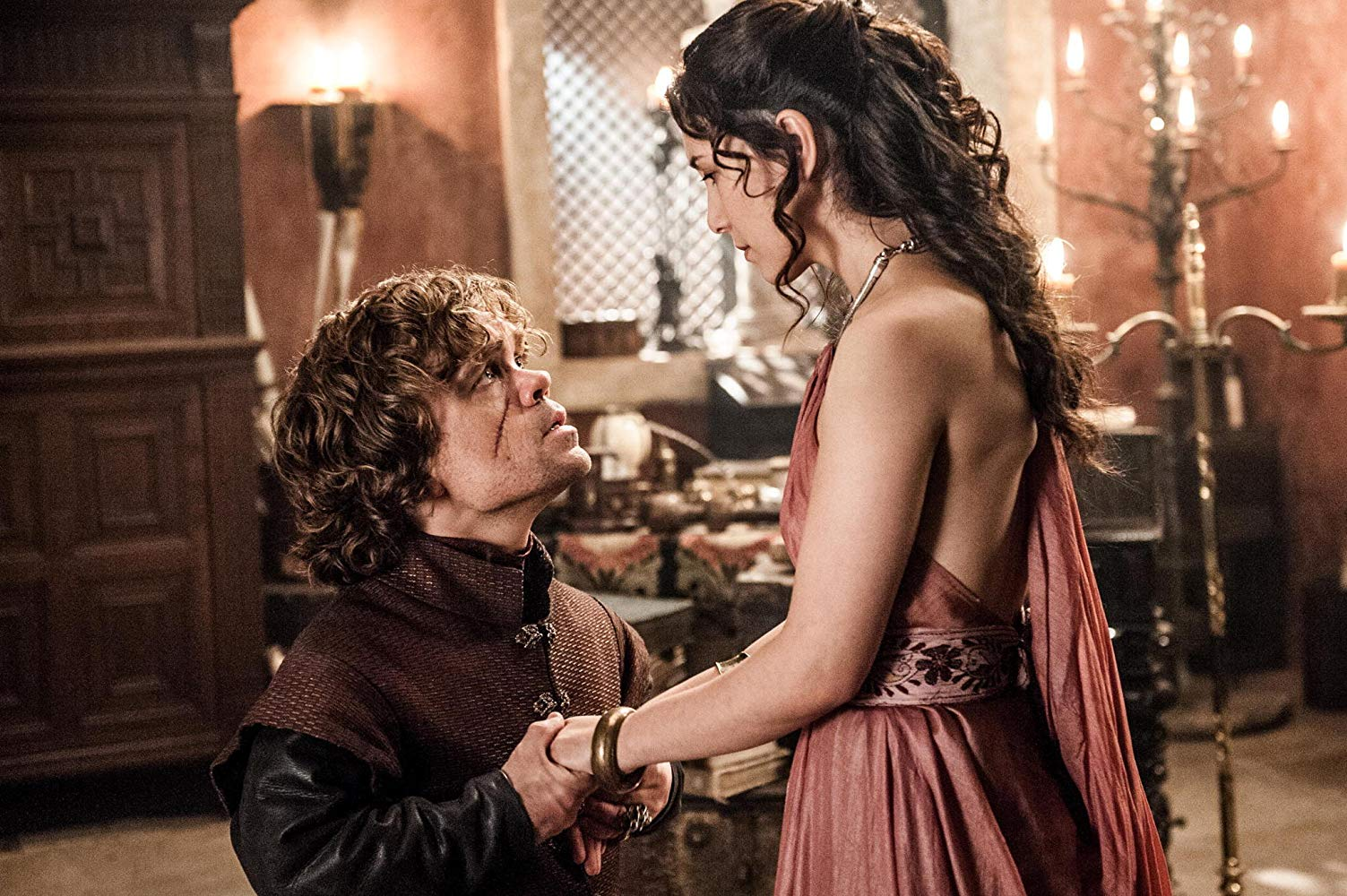 Peter Dinklage as Tyrion Lannister and Sibel Kekilli Shae in 'Game of Thrones'. (Source: IMDB)