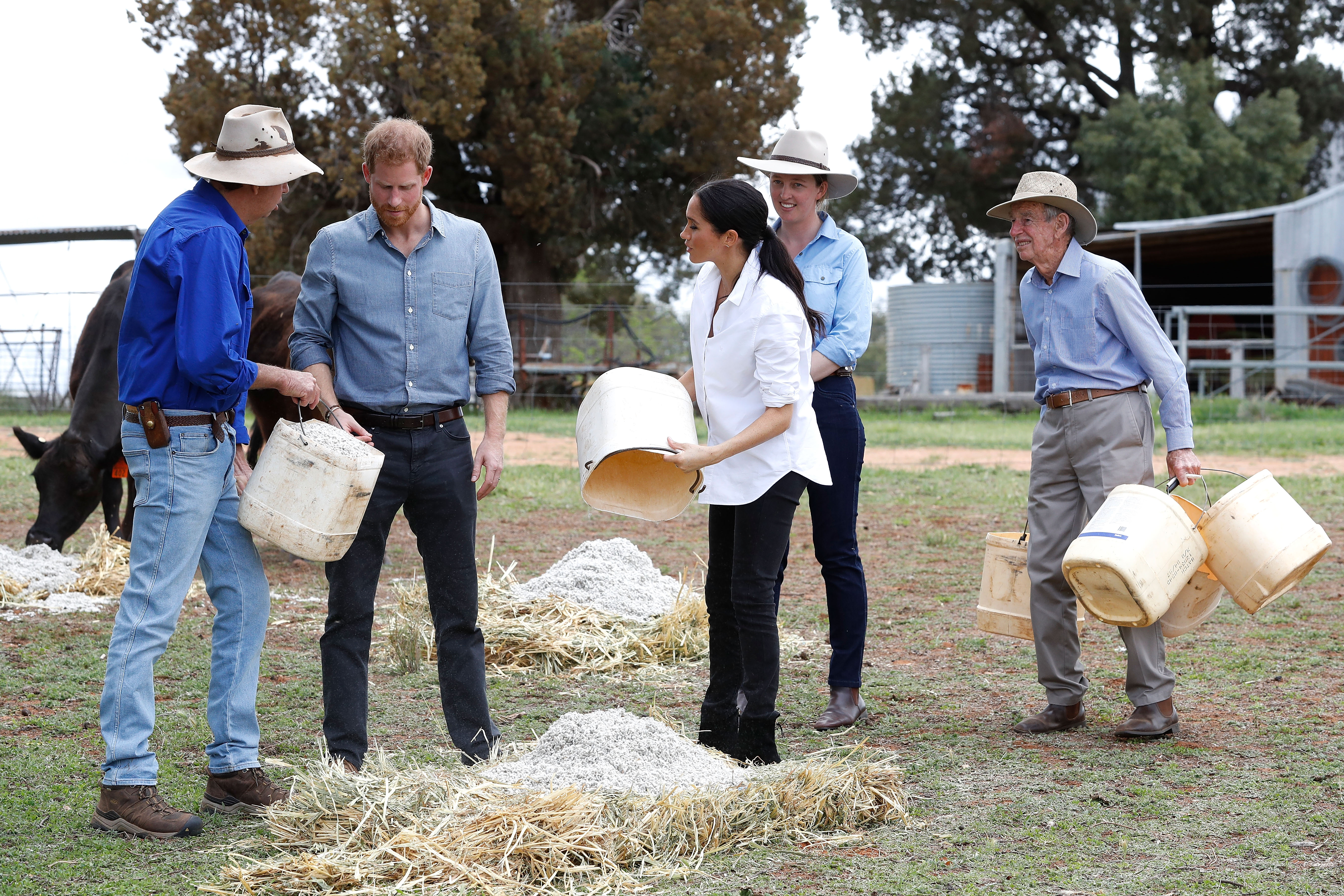Prince Harry, Duke of Sussex and Meghan, Duchess of Sussex visit a local farming family, the Woodleys, on October 17, 2018, in Dubbo, Australia. (Getty Images)