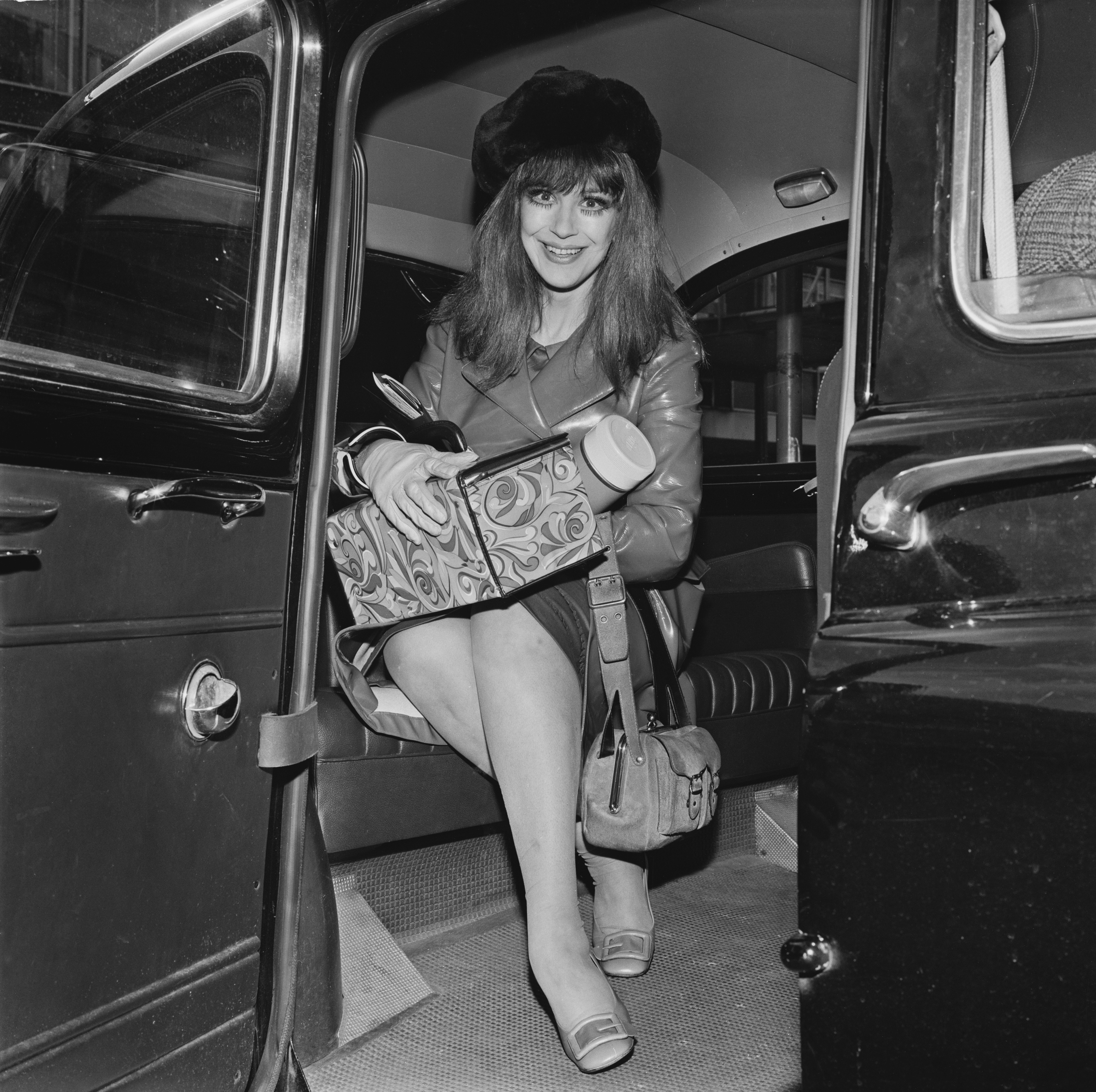 british stage and television actress Fenella Fielding at Heathrow Airport, London, UK, 23rd September 1968. (Photo by Dove/Daily Express/Getty Images)