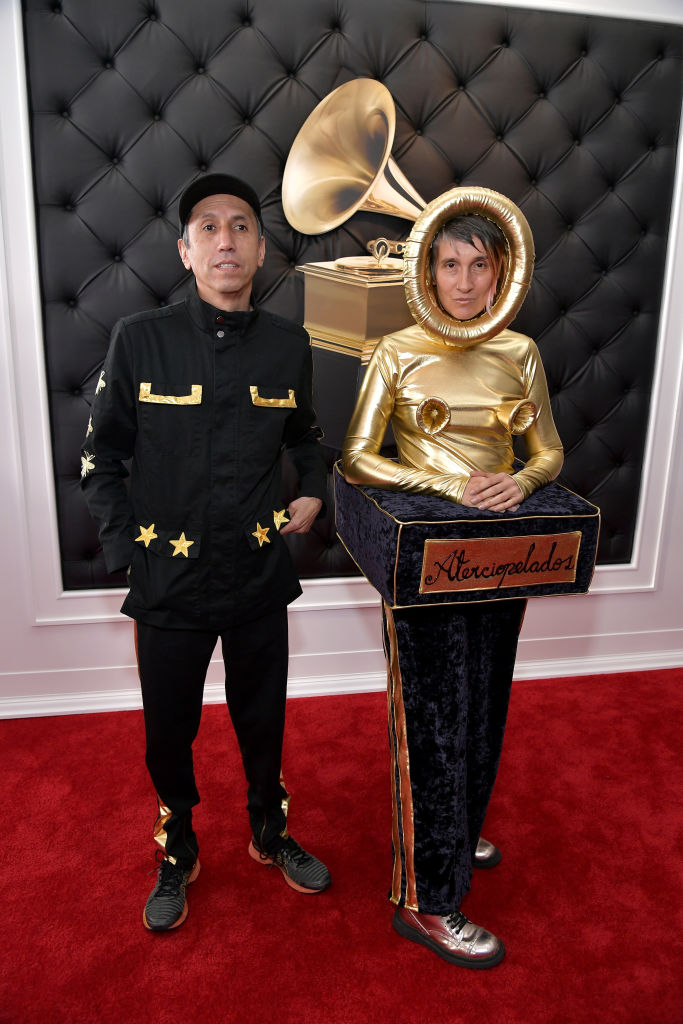 Hector Buitrado (L) and Andrea Echeverry of Aterciopelados attend the 61st Annual Grammy Awards at Staples Center. (Photo by Neilson Barnard/Getty Images for The Recording Academy)