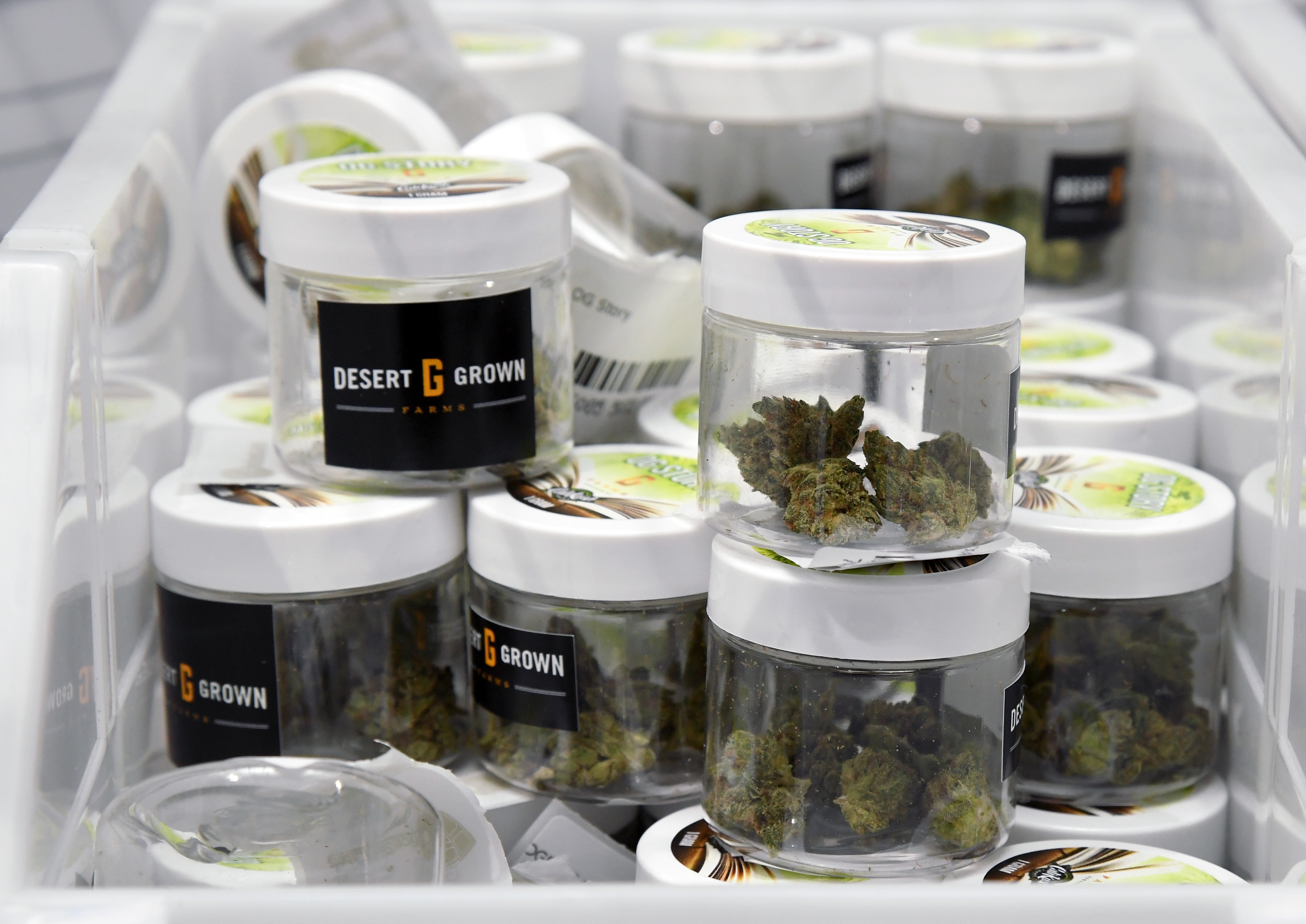 Cannabis is displayed at Essence Vegas Cannabis Dispensary before the midnight start of recreational marijuana sales on June 30, 2017 in Las Vegas, Nevada.
