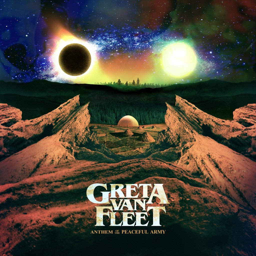 Album art for Greta Van Fleet's debut 'Anthem of the Peaceful Army'.