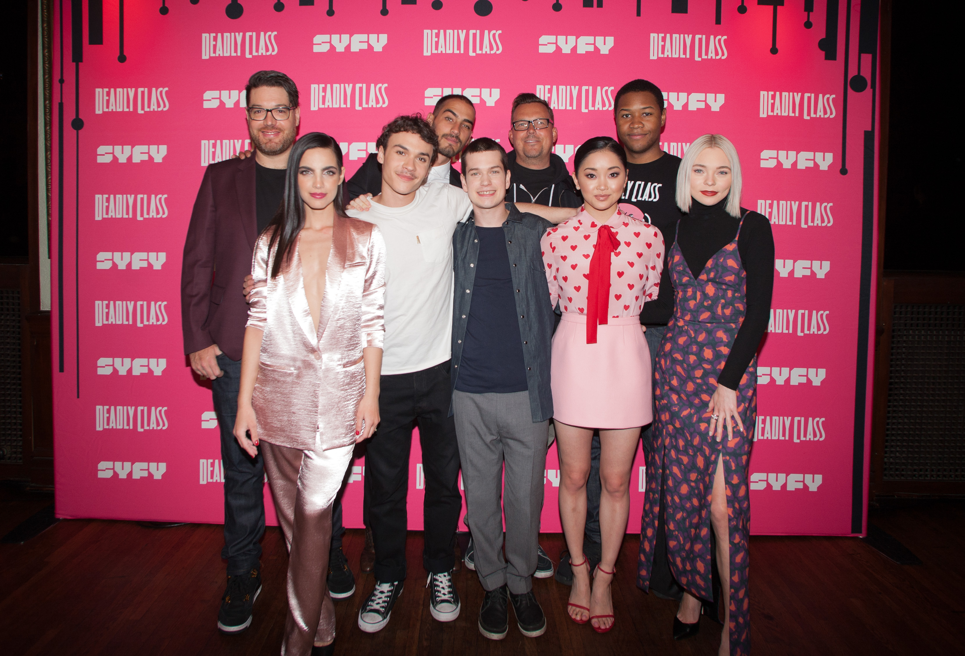 (L-R) Miles Orion Feldsott, María Gabriela de Faría, Benjamin Wadsworth, Michel Duval, Liam James, Rick Remender, Lana Condor, Luke Tennie and Taylor Hickson attend the premiere week screening of SYFY's 'Deadly Class', hosted by Kevin Smith, at The Wilshire Ebell Theatre on January 14, 2019 in Los Angeles, California.