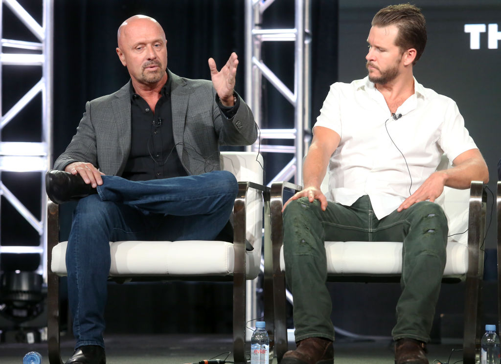 Creator/Executive producer/Writer Joe Halpin (L) and actor Ryan Kwanten of 'The Oath' speak onstage during the Sony Crackle portion of the 2018 Winter Television Critics Association Press Tour at The Langham Huntington, Pasadena on January 14, 2018 in Pasadena, California. (Photo by Frederick M. Brown/Getty Images)