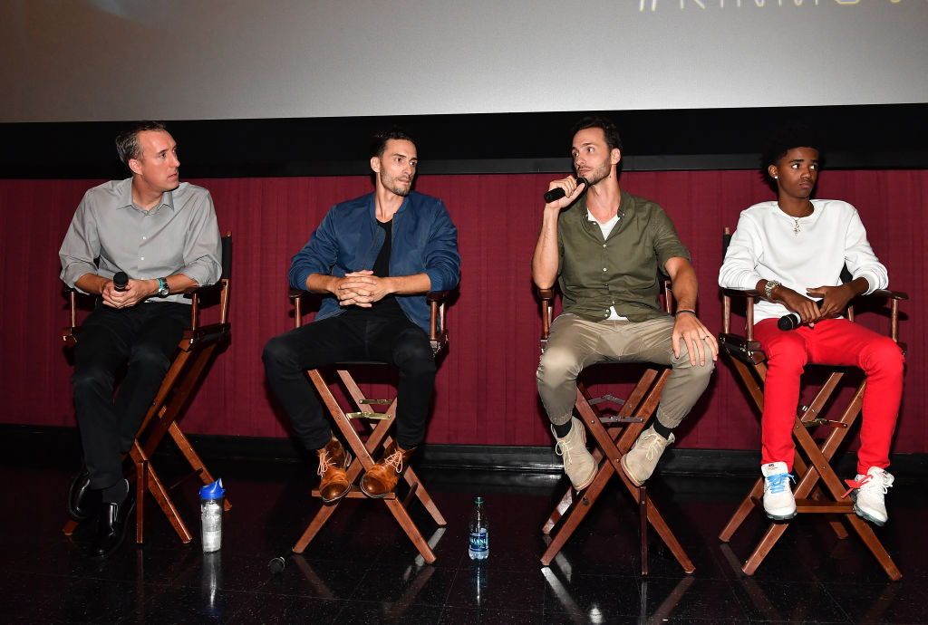 (L-R) SCAD professor of Film and Television Michael Kinney, director Jonathan Baker, director Josh Baker, and actor Myles Truitt speak onstage during 'Kin' Atlanta screening at Regal Atlantic Station on August 20, 2018 in Atlanta, Georgia. (Photo by Paras Griffin/Getty Images for Lionsgate)