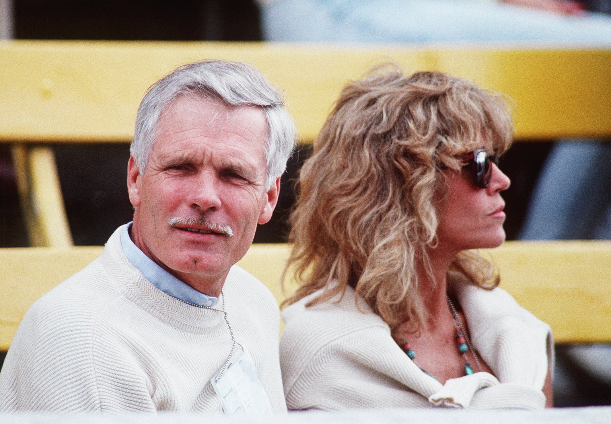 Media magnate Ted Turner and actress Jane Fonda on July 24, 1990. (Tony Duffy/ALLSPORT)