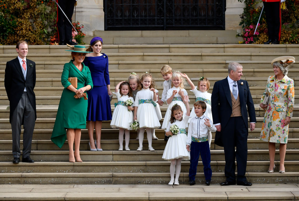 (L-R) Best man Thomas Brooksbank, Sarah Ferguson, Princess Beatrice of York, bridesmaids and page boy, Prince Andrew, Duke of York, Thomas Brooksbank, bridesmaids Princess Charlotte of Cambridge, Savannah Phillips, Maud Windsor, page boy Prince George of Cambridge, bridesmaids Isla Phillips, Theodora Williams, Mia Tindall and page boy Louis de Givenchy and Nicola Brooksbank leave after the royal wedding of Princess Eugenie of York to Jack Brooksbank at St. George's Chapel on October 12, 2018 in Windsor, England. (Photo by Toby Melville - WPA Pool/Getty Images)