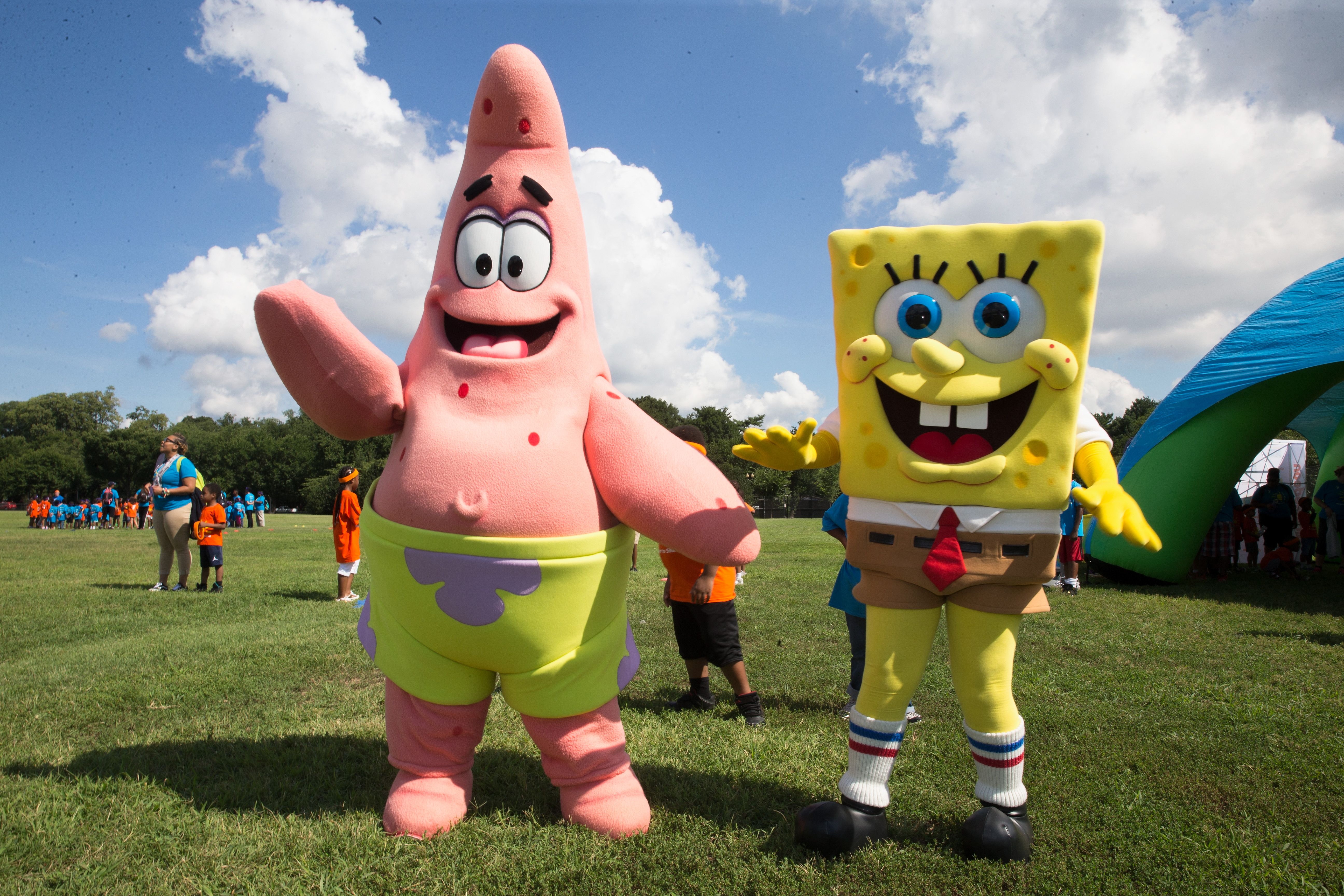 Patrick and Spongebob take part in the Worldwide Day of Play on July 26, 2017 in Washington, DC.
