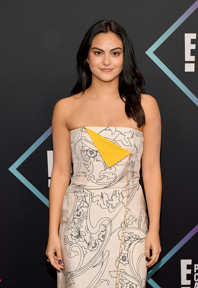 Camila Mendes wowed in a simple gown with an artsy yellow (bib?) in the front. She kept her makeup almost au naturale and reminded us why less is more. (Photo by Matt Winkelmeyer/Getty Images)