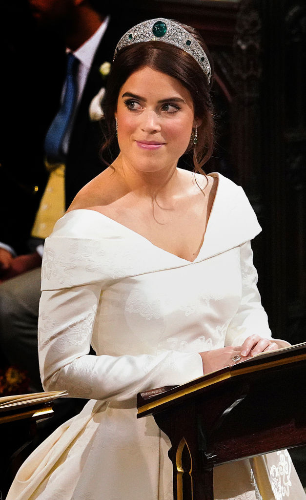 Princess Eugenie of York attends her wedding to Jack Brooksbank at St. George's Chapel on October 12, 2018, in Windsor, England. (Getty Images)