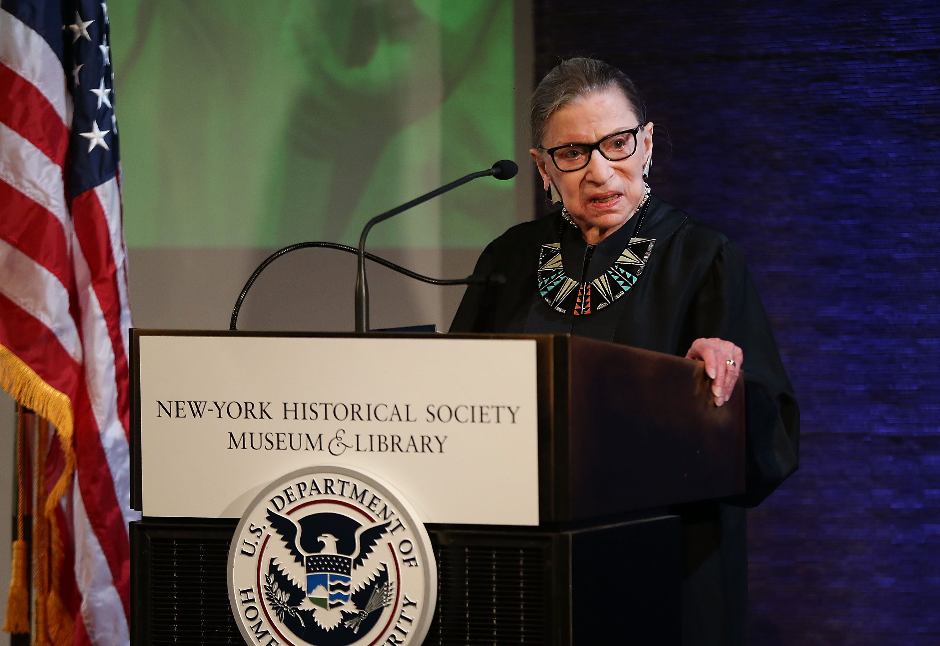 U.S. Supreme Court Justice Ruth Bader Ginsburg prepares to administer the Oath of Allegiance to candidates for U.S. citizenship at the New-York Historical Society on April 10, 2018 in New York City. Two hundred candidates from 59 countries participated in the morning ceremony becoming American citizens. (Getty Images)