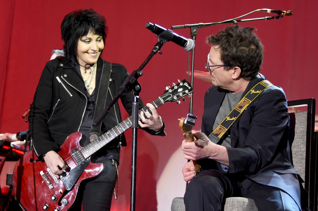Joan Jett and Michael J. Fox perform on stage at A Funny Thing Happened On The Way To Cure Parkinson's benefitting The Michael J. Fox Foundation at the Hilton New York on November 10, 2018. (Photo by Jamie McCarthy/Getty Images)