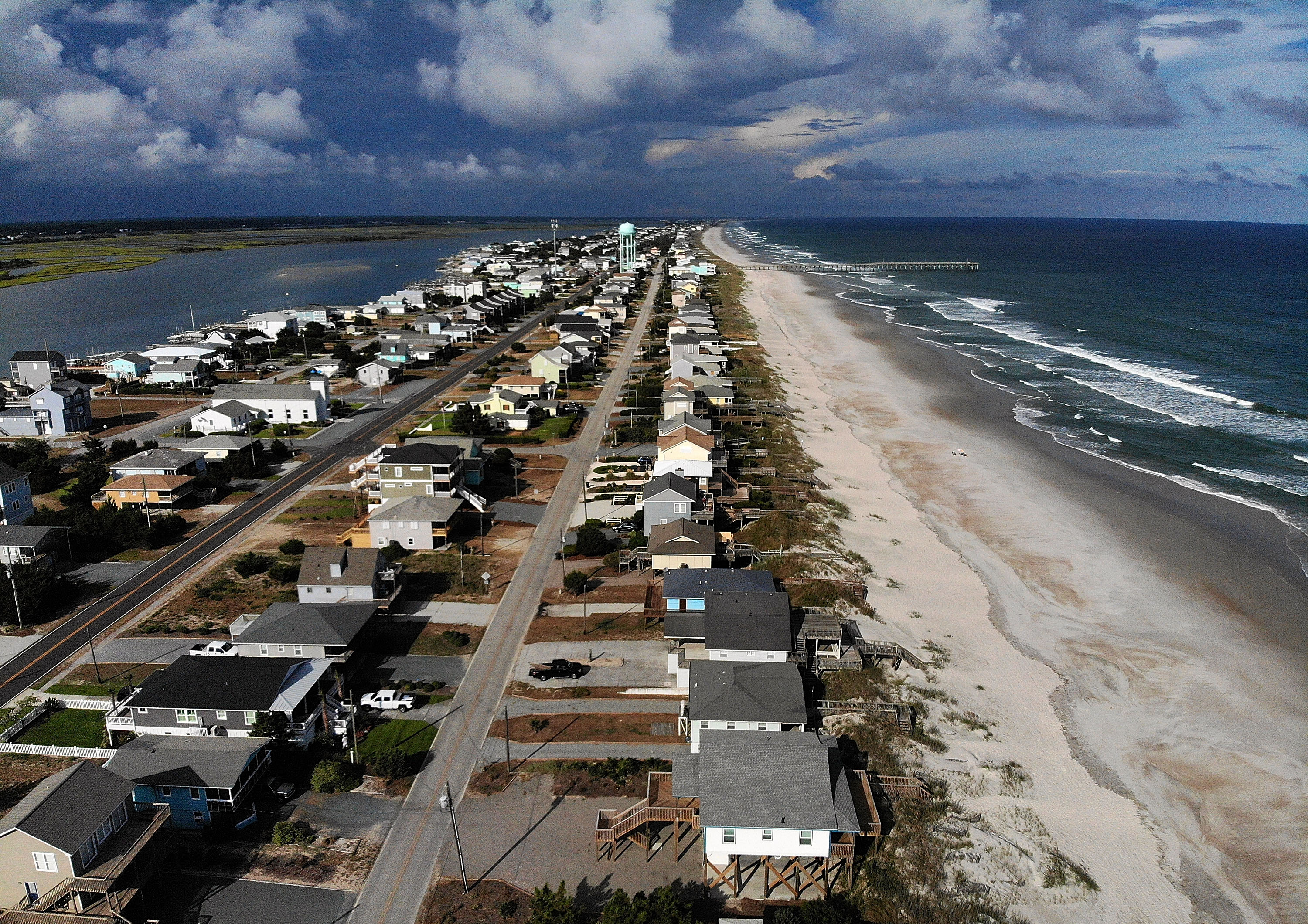 A mandatory evacuation is in effect in preparation of the approaching Hurricane Florence, on September 11, 2018 in Topsail Beach, North Carolina. Hurricane Florence is expected on Friday possibly as a category 4 storm along the Virginia, North Carolina and South Carolina coastline.